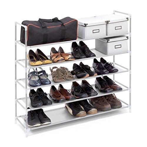 Relaxdays Schuhregal mit Griffen H x B x T: ca. 90,5 x 87 x 29,5 cm Schuhablage aus Vlies-Gewebe mit 5 Ablagen für 25 Paar Schuhe als Schuhständer und Schuhschrank beliebig erweiterbar Regal, weiß