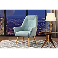 Accent Chair for Living Room, Upholstered Linen Arm Chairs with Natural Wooden Legs (Light Blue)