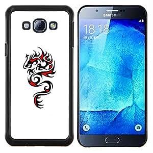 YiPhone /// Prima de resorte delgada de la cubierta del caso de Shell Armor - Dragón Arte Negro Dibujo Rojo - Samsung Galaxy A8 A8000
