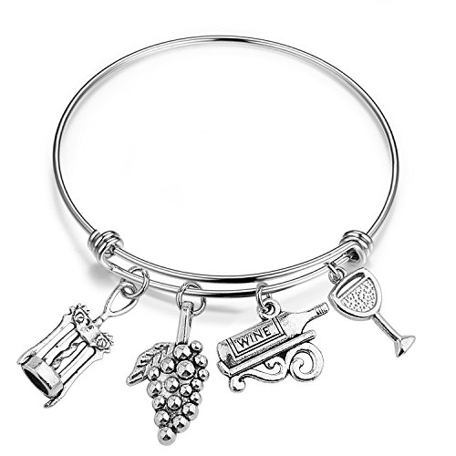 QIIER Wine Charm Bracelet Adjustable Wire Bangle Wine Lovers Jewelry Hostess Gift House Warming Gift -