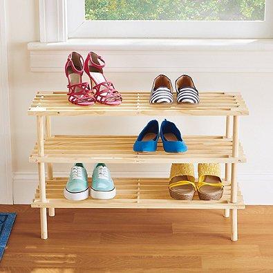 SALT™ 3-Tier Stackable Wood Shoe Rack