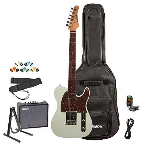 Sawtooth ST-ET-SGRT-KIT-3 Electric Guitar Kit, Surf Green with Tortoise Pickguard & ChromaCast Gig Bag