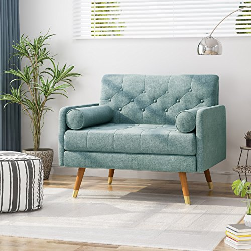 Christopher Knight Home 305842 Nour Fabric Mid-Century Modern Club Chair, Blue, Natural