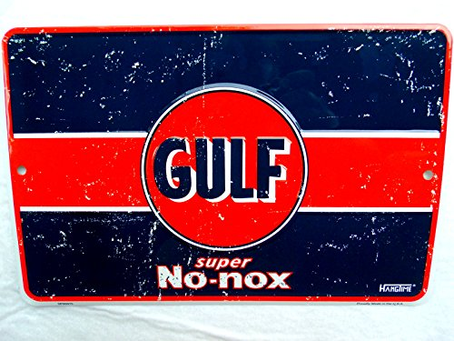 Vintage GULF OIL SIGN, No-nox Gas Sold Here Metal Gas Station Pump Old Logo Sign