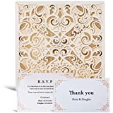 WISHMADE 50pcs Ivory Laser Cut Flora Lace Invitation Cards with Envelope Blank Inserts Foil Wedding Invitations Bridal Shower Engagement Birthday with Matched RSVP Thank You Card