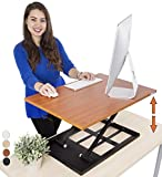 Standing Desk X-Elite - Stand Steady Standing Desk | X-Elite Pro Version, Instantly Convert Any Desk into a Sit / Stand up Desk, Height-Adjustable, Fully Assembled Desk Converter (Cherry)