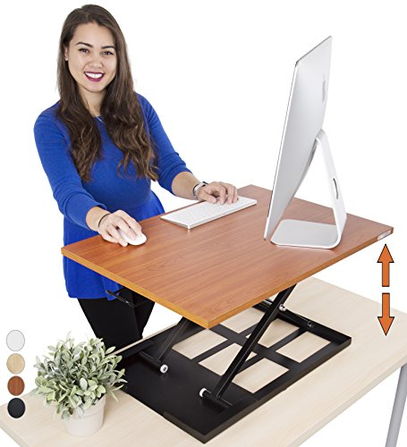 Standing Desk X-Elite – Stand Steady Standing Desk | X-Elite Pro Version, Instantly Convert Any Desk into a Sit / Stand up Desk, Height-Adjustable, Fully Assembled Desk Converter (Cherry) by Stand Steady