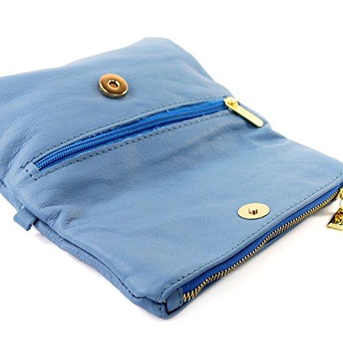 sac dames petites d'embrayage Sac de ital de de cuir d'épaule sac poignet en T95 en modamoda Hellblau cuir 4S8nqBE