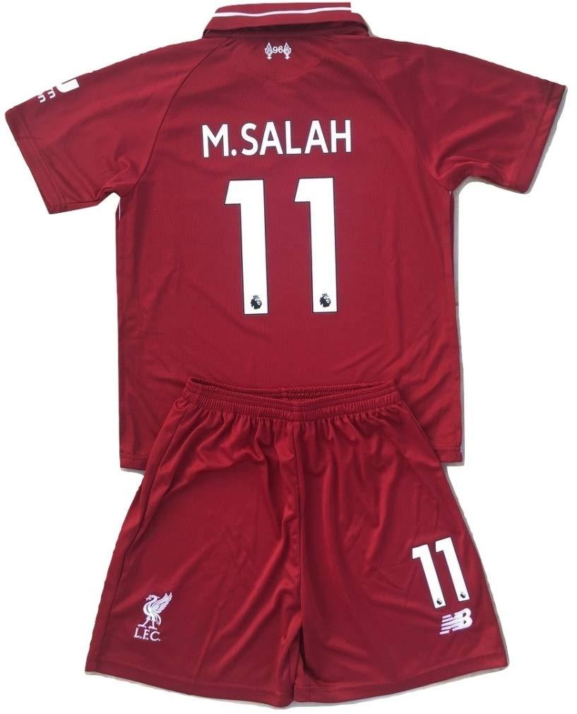 Ninakova2018 M.Salah #11 Liverpool FC 2018-2019 Youths/Kids Home Soccer Jersey & Shorts (7-8 Years Old)