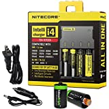 NITECORE i4 (New version) Intellicharge universal smart battery Charger For Li-ion / IMR / Ni-MH/ Ni-Cd 26650 22650 18650 18490 18350 17670 17500 17335 16340 RCR123 14500 10440 AA AAA AAAA C types with Ac and 12V DC (Car) power cords, 2 X EdisonBright AA to D type battery spacer/converters