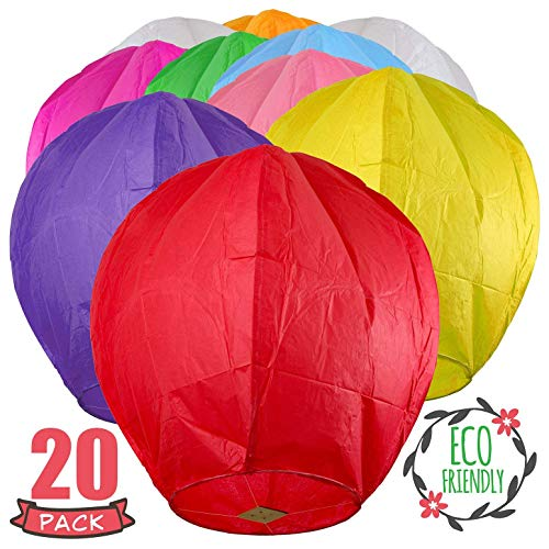 SKY HIGH 20 Pack Colorful Chinese Lanterns - Biodegradable Paper Lanterns Multi-Color Assortment for Birthdays, Parties, New Years, Memorial Ceremonies and More