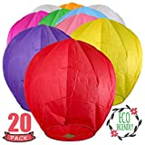 SKY HIGH™ Chinese Lanterns 10-Pack Color, Fully Assembled And Fuel Cell Attached Is 100% Biodegradable, New Designed Sky Lantern With Gift Box By Coral Entertainments For Any occasion. (Multi-Color)