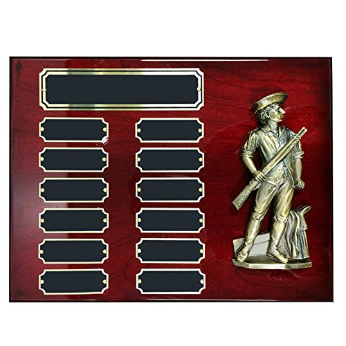 Awards and Gifts R Us Customizable 9 x 12 Inch Perpetual Cherry Piano Finish Plaque with Brass Minuteman, Includes Personalization