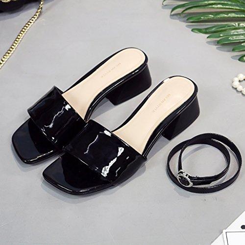 Negro de 240mm Tacón Playa y Medio Zapatillas L de Hembra EU38 UK5 Zapatillas Color PENGFEI Verano Deportivas Beige Negro Zapatillas 5 Beige Tamaño zqwxI1tB