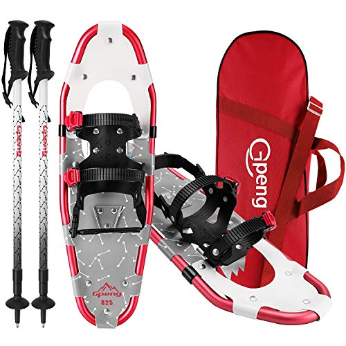 Gpeng 3-in-1 Xtreme Lightweight Terrain Snowshoes Set for Men Women Youth Kids, Light Weight Aluminum Alloy Terrain Snow Shoes with Trekking Poles and Carrying Tote Bag, 14/21/ 25/27/ 30