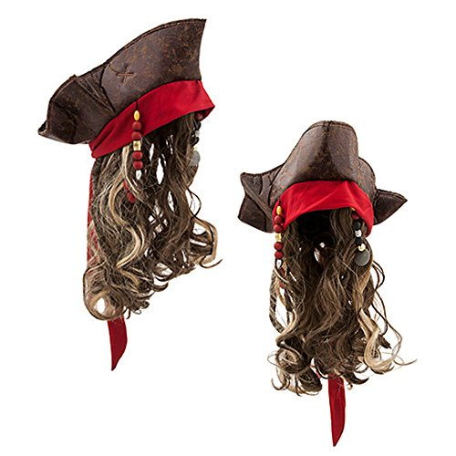 [Official Disney Pirates Of The Caribbean Salazar's Revenge Jack Sparrow Hat & Wig] (Kid's Jack Sparrow Hat)