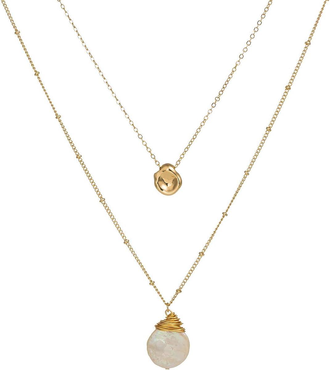 QKL Clásico Collar Doble Tejido A Mano Femenino, Perla Natural con Forma Barroca + Colgante De Frijol Dorado
