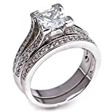 .75 CT Princess Cut Pave Cathedral Setting White Gold Plated Bridal Wedding Engagement Ring Set Size 7