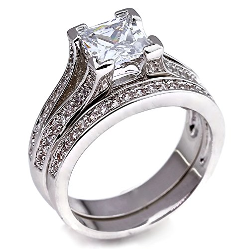 .75 CT Princess Cut Pave Cathedral Setting White Gold Plated Bridal Wedding Engagement Ring Set Size 6 (Six Prong Pave Set)