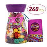Acekid Pop Beads, 240pcs Snap Beads for Kids, Girls DIY Jewelry Kit Ideal for Making Necklace, Bracelet and Ring