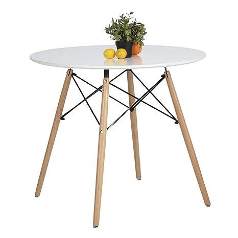 Amazon.com: Equipo de mesa de comedor, Madera, Blanco ...