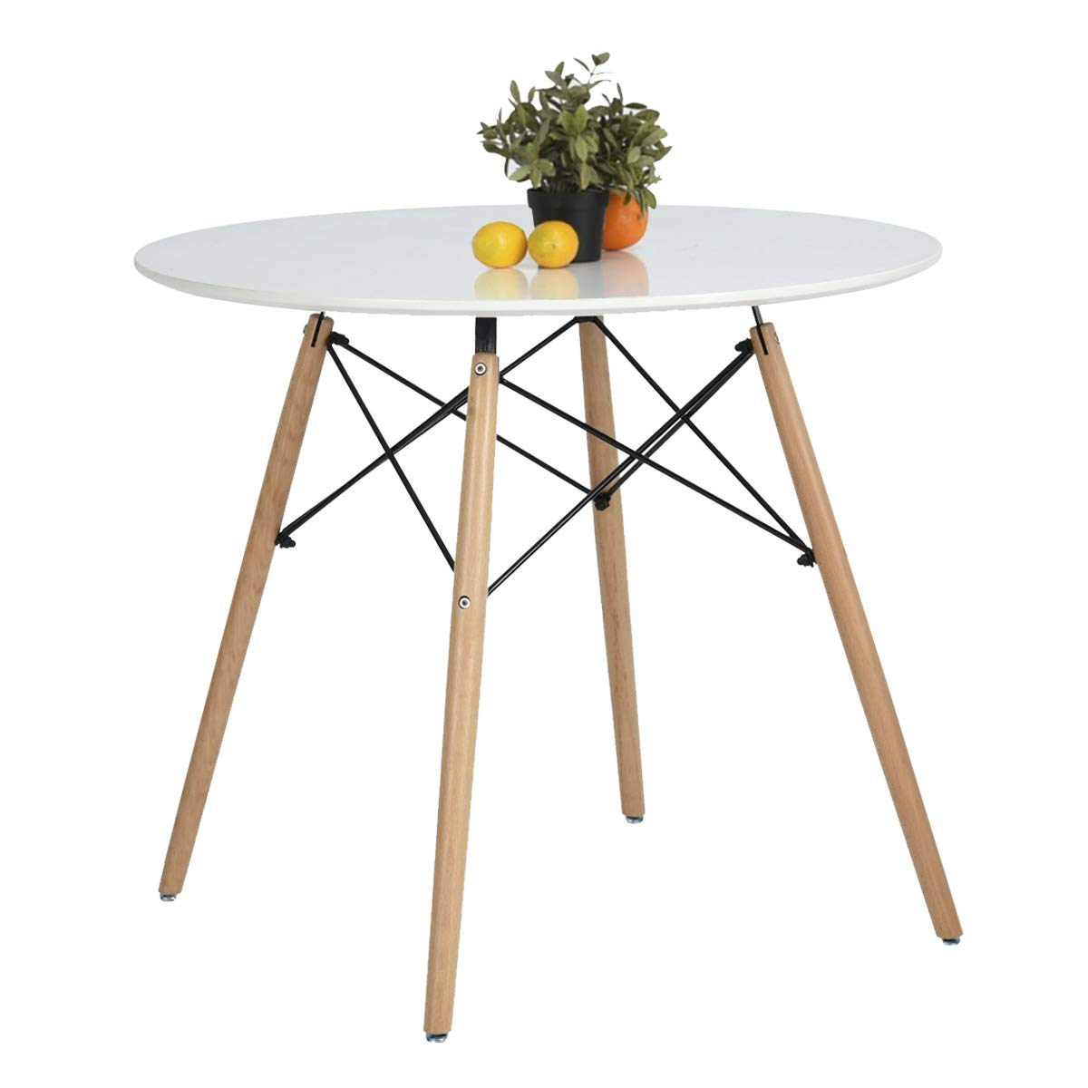 Coavas Kitchen Dining Table White Round Coffee Table Modern Leisure Wooden Tea Table Office Conference Pedestal Desk by Coavas (Image #1)