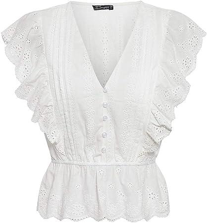 Blusa de Verano con Cuello en v Sexy para Mujer Camisa de algodón con Bordado de Cintura Alta con Volantes Elegantes Blusa Blanca de ModaTops paraMujer