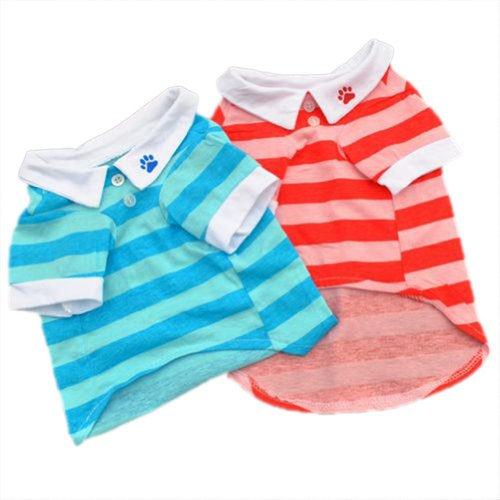 WXBUY Pet Puppy Dog Classic Cotton Wide Stripes POLO T-shirt Blue M