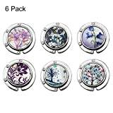 FOME Handbag Hanger, Set of 6 Foldable Purse Hook Purse Table Hook Holder Flower and Tree Pattern Bag Hanger Hook 3.54x1.77in Mixed Color