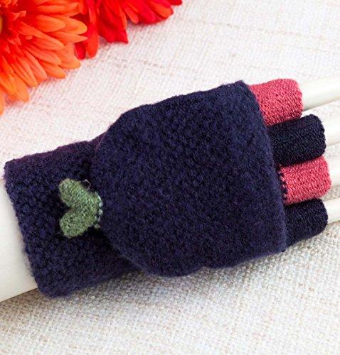 Winter Wool Knitted Gloves for Women Warm Fingerless Mitten Gloves Fold Back Pocket