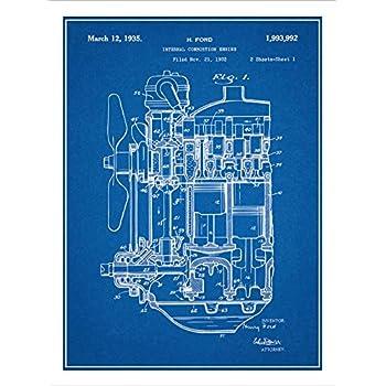 Amazon 1932 henry ford engine patent print art poster 1932 henry ford engine patent print art poster unframed blueprint 18 malvernweather Image collections