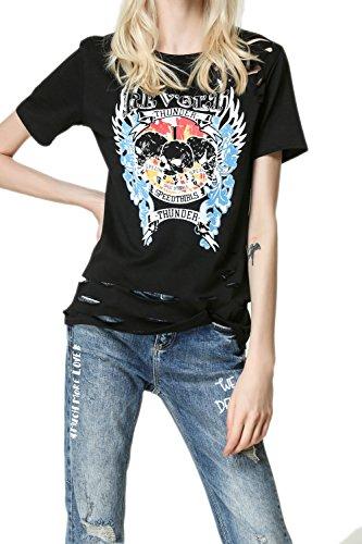 Gráfico de Yacun mujeres impresa manga corta camiseta Black