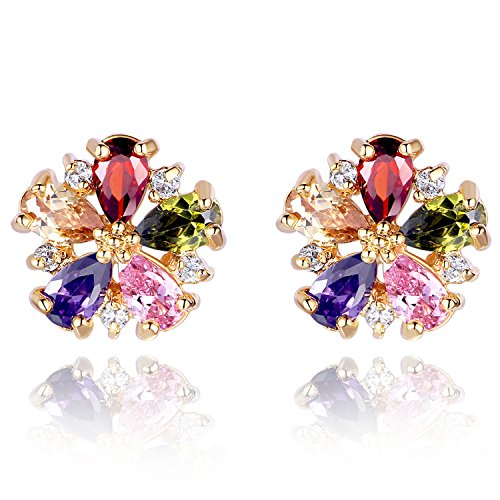 Gold Plated Colorful Crystal (Gorgeous Flower Design CZ Stud Earrings 18K Rose Gold Plated Colorful Crystal Birthstone Stud Earrings)