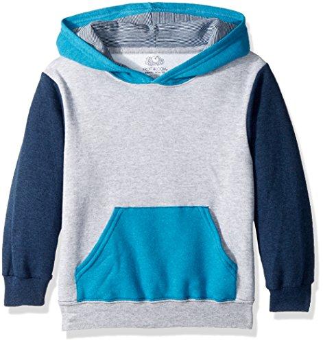 Fruit of the Loom Boys' Big Fleece Hoodie Sweatshirt, Athletic T.Blue Amulet Teal Heather/Smoke Blue Stripe, Small
