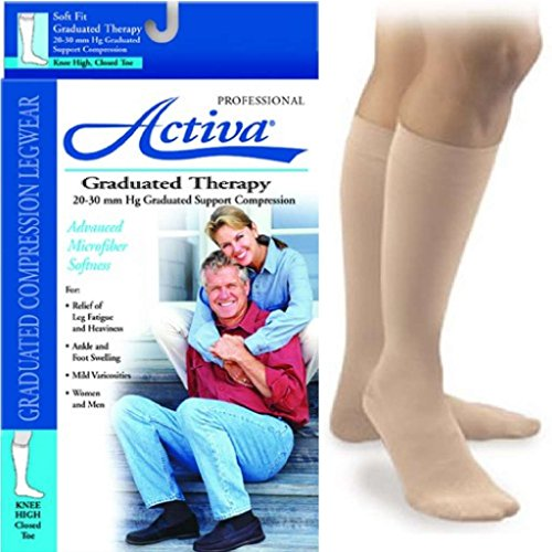 Activa Graduated Therapy Unisex Closed Toe Knee Highs 20-30 mmHg Large Beige - H3303