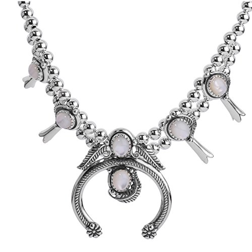 American West - Sterling Silver & White Mother of Pearl Squash Blossom Statement 16 Inch Necklace - Classics Collection ()