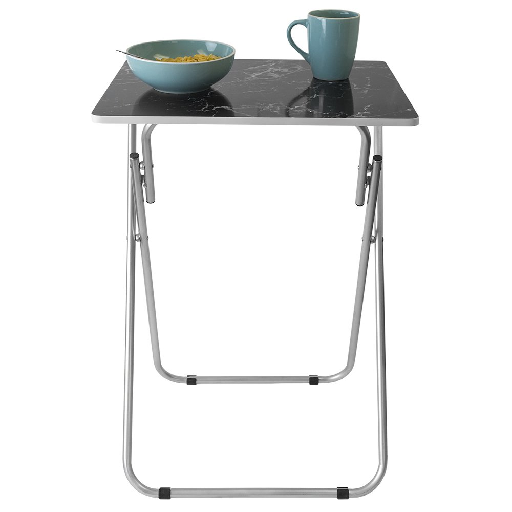 Home Basics Multi-Purpose Sturdy and Durable Decorative Bedside Laptop Snack Cocktails TV Folding Table Tray Desk Bedside Laptop Snacks Black Marble by Home Basics (Image #3)
