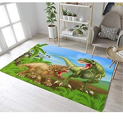 Kinder Teppich Cartoon Dinosaurier Druck Wasserdicht Polyester Teppich Baby Schlafzimmer Spiel Krabbeldecke 80cmx150cm