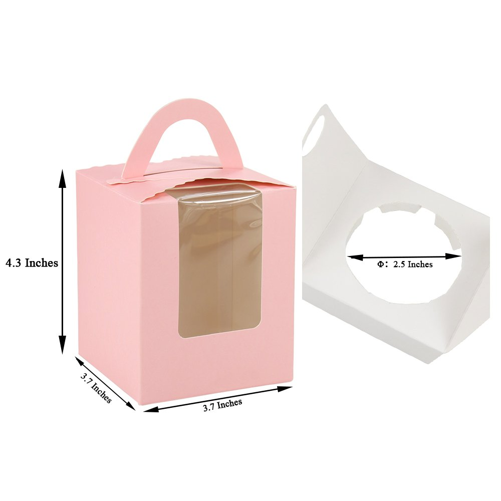 Walk Arrive Cupcake Box Clear Display Window with Strong Handle and Secure Insert Cake Box Bakery Box Cupcake Carrier Cupcake Holder Cupcake Container for Baby Shower Wedding Birthday Party (10, Pink)