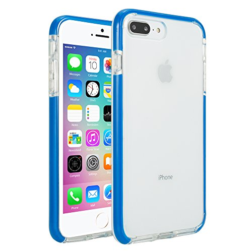 Colorful Protective Case (Soft touch Premium TPU with an extra Shock Absorption layer [Colorful Series] Clear Style Ultra thick Air-Cushion Protective case for Apple iPhone 7 Plus / iPhone 8 Plus 5.5 inch -- Bright Blue)