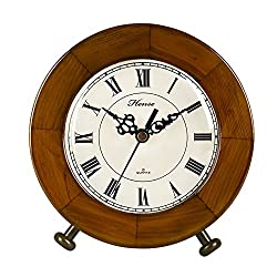HENSE Antique Small Round Roman Numerals Analog Soild Wood Table Clock, Concise Non Ticking Mute Quartz Desk Clock(HD12-001B)