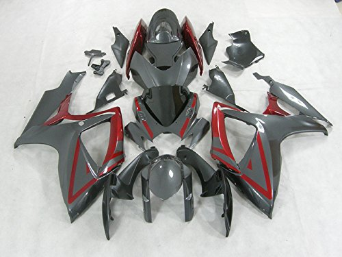 Moto Onfire ABS Injection Mold - Red Grey Plastic Fairing Kits Fit for Suzuki GSX-R750 GSX-R600 K6 2006 2007 GSXR 600 750 K6 06 07