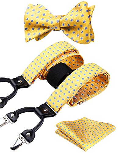 HISDERN Paisley Floral 6 Clips Suspenders & Bow Tie and Pocket Square Set Y Shape Adjustable Braces from HISDERN