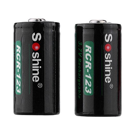 Soshine 2pcs RCR-123 16340 3.7V 700mAh Protected Rechargeable Li-ion Lithium Battery for flashlight (Protected Rcr123 compare prices)