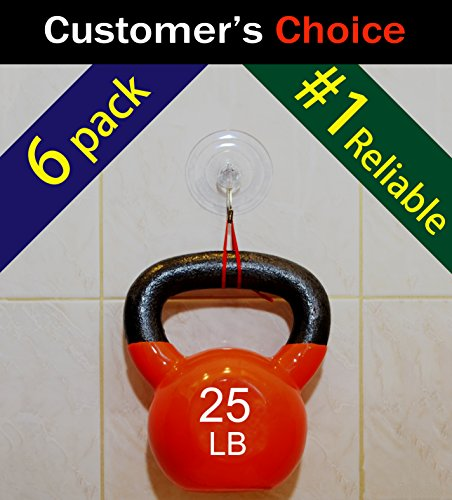 "Super Heavy Duty Suction Cup Hooks, Best Quality Suction Lasts for Years, Strong Hanger for Bathrooms, Kitchen Accessories, Wreaths, Shops and More, Clear, 3 1/4"", 6-Pack, Hold 25 lb, by SillyCute"