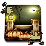 3dRose Sandy Mertens Halloween Designs - Nighttime Light on a Fence with Pumpkins, Bats and a Full Moon - 10x10 Inch Puzzle (pzl_156755_2)