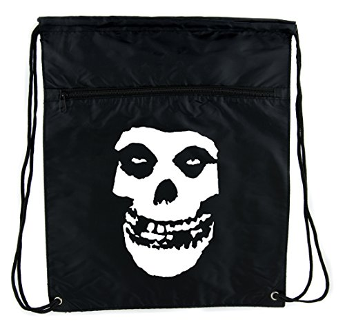 - Deathrock Punk Rock Misfits Skull Cinch Bag Drawstring Backpack Occult Clothing