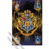 Poster + Hanger: Harry Potter Poster (36x24 inches) Crests And 1 Set Of Transparent 1art1® Poster Hangers