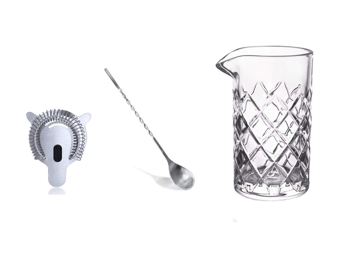 Large (22oz/650ml) Cocktail Mixing Glass by Bar Products. Thick Walled Glass with Diamond Cut Pattern. Includes 10inch Stainless Steel Bartender Spoon and Soft Touch Hawthorne Strainer. Made in USA.