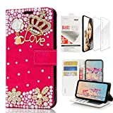 STENES Bling Wallet Case Compatible with iPhone XR - 3D Handmade Crown Flowers Design Leather Case with Wrist Strap & Screen Protector [2 Pack] - Red